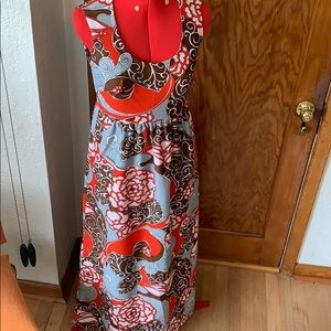 Vintage 1960s 1970s maxi dress boho brown grey red